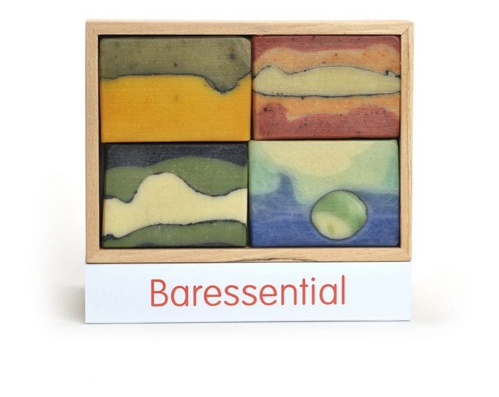 Luxury gift box of 4 baressential bars of soap, presented in a spalted beech box