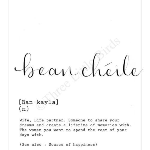 bean_cheile_wife_calligraphy_print_as_gaeilge_A4_in size