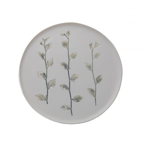 Round ceramic dish with impressed wild flowers