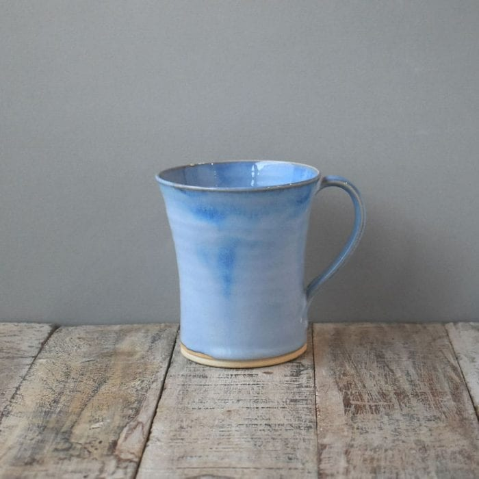 Straight blue pottery mug by Rosemarie Durr