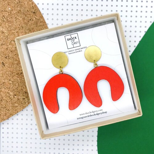Cool Contemporary Earrings hand painted laser cut birchwood ply with brass disc