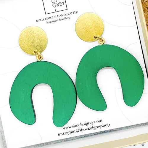 Wearable Art Green laser cut wood and brass earrings