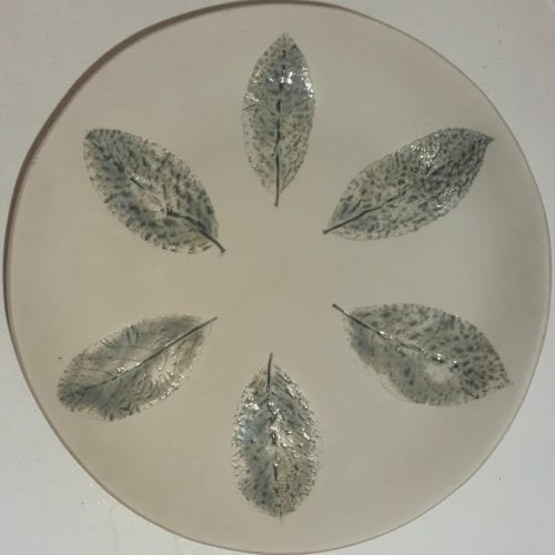 handmade ceramic dish with Impressed leaves detail