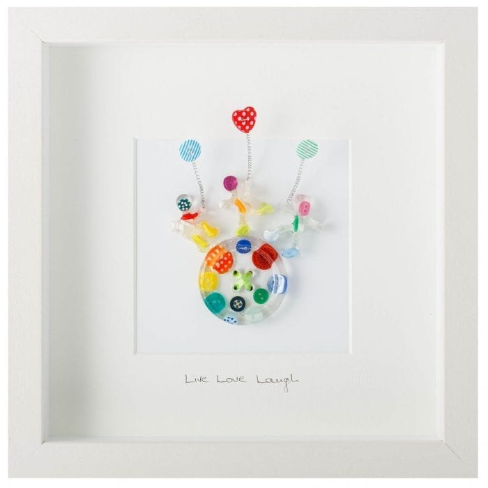 Wall Art made from buttons and resin...Live Love Laugh