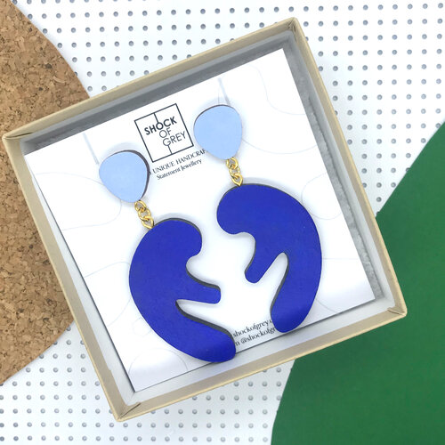 matisse themed earrings in shades of blue
