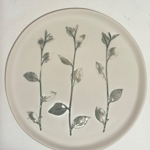 Irish Handmade round ceramic plate with impressed wild flower detail