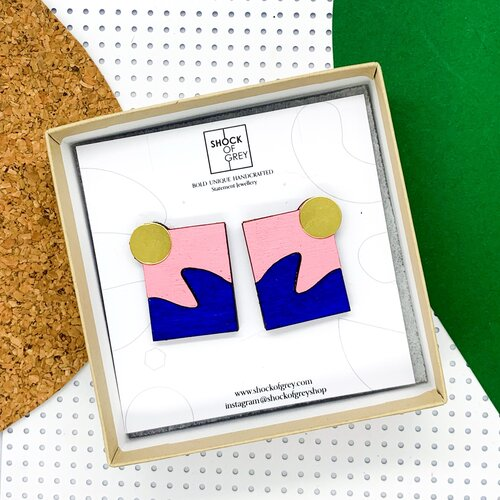 blue and pink on wood earrings with brass detail