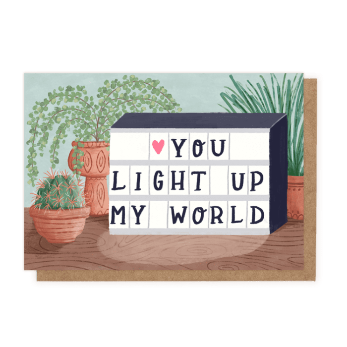 Light box visual of you light up my world