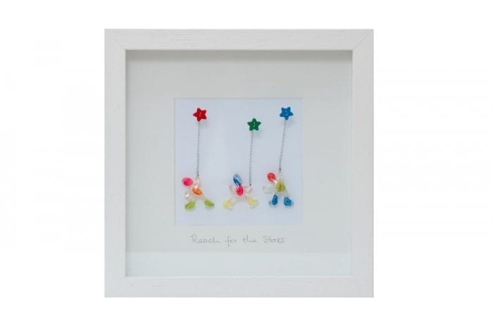 wall art made from buttons and resin with inspirational quote to Reach for the Starsi