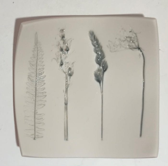 small sq ceramic dish with impressed meadow mix detail