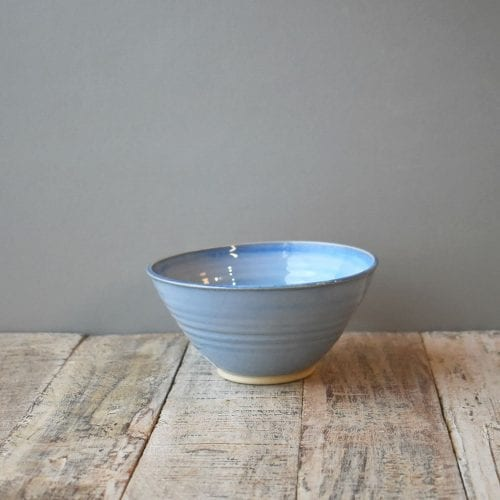 small blue pottery bowl