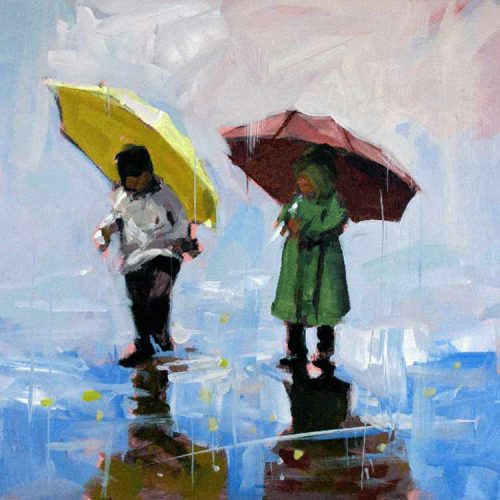 Striking print of a young boy and girl carrying bright yellow and red umbrellas