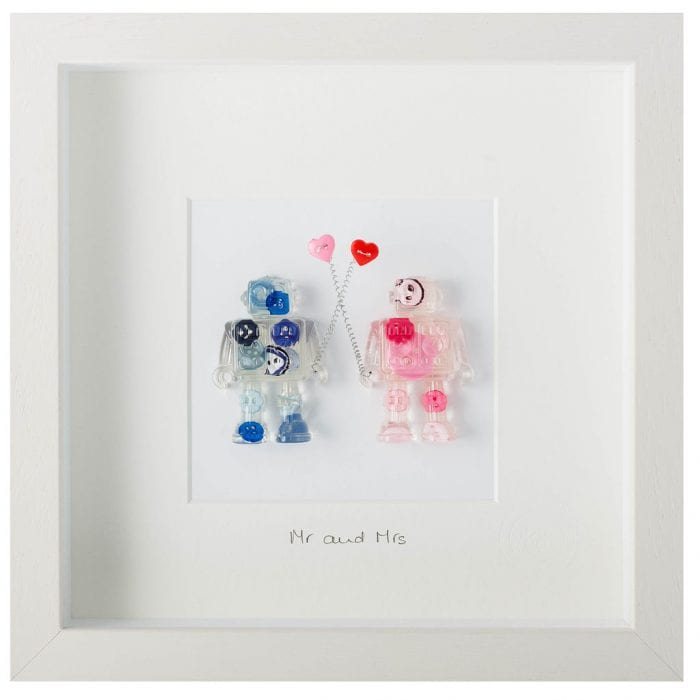 wall art made from buttons and resin with message Mr & Mrs