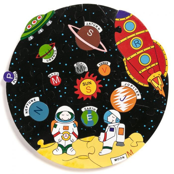 educational alphabet jigsaw with solar system theme