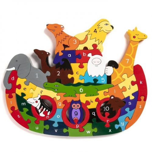 hand painted wooden jigsaw puzzle of Noah's art