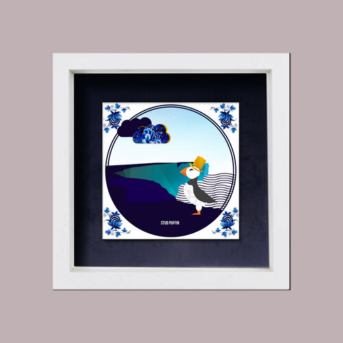 framed wall art painted tile of a puffin in front of cliffs of moher