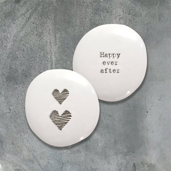 porcelain pebble with happy ever after and love heart inscription