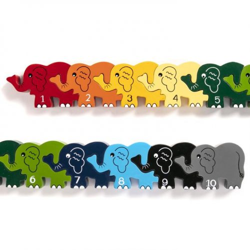 wooden educational jigsaw row of elephants