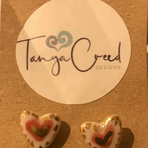 handmade porcelain stud heart shaped earrings