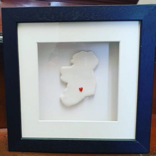 Home is where the heart is - porcelain map of ireland with heart in Tipperary