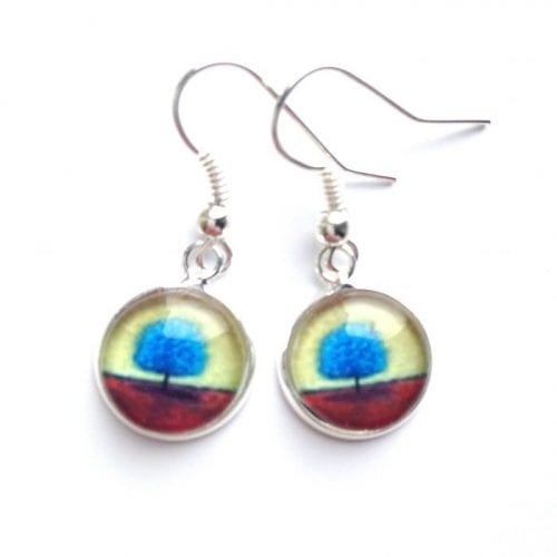 Blue Tree Autumn Drop Earrings