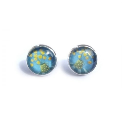 Blue and Yellow Golden Moment Stud Earrings