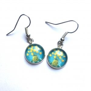 Blue and Yellow Golden Moment Drop Earrings