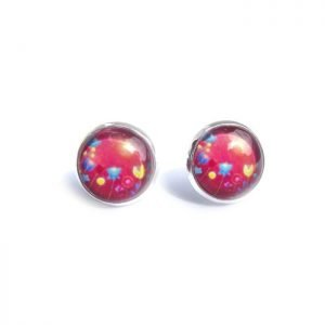 red_floral_stud_earrings