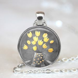yellow_flowers_in_grey-Spotted_jug_painting_in_medium_pendant