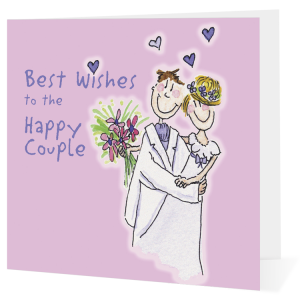 big leap card with illustration of wedding couple - Best Wishes to the Happy Couple