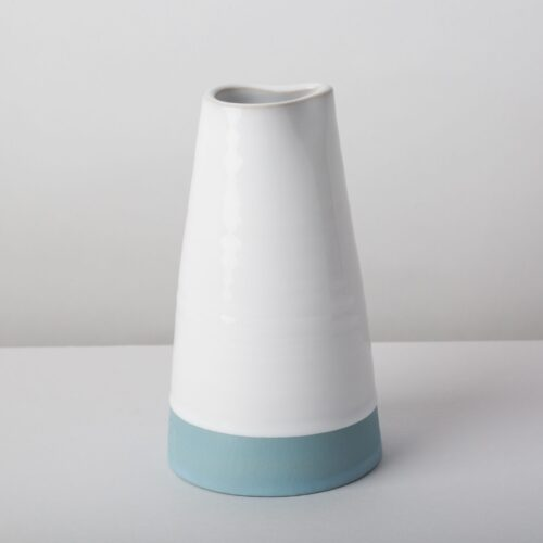 Diem Pottery white small handthrown pitcher with acqua blue slip