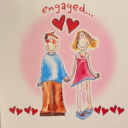 handmade card with illustration of engaged couple