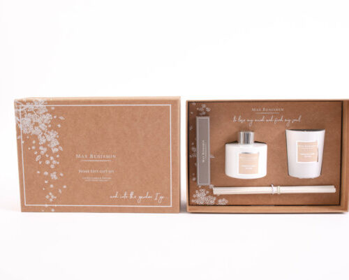 gift set with candle, diffuser in French Linen Water Scent and matches...from Max Benajmin