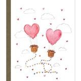 card with illustration of heart air balloons