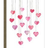 card with illustration of hearts on a string