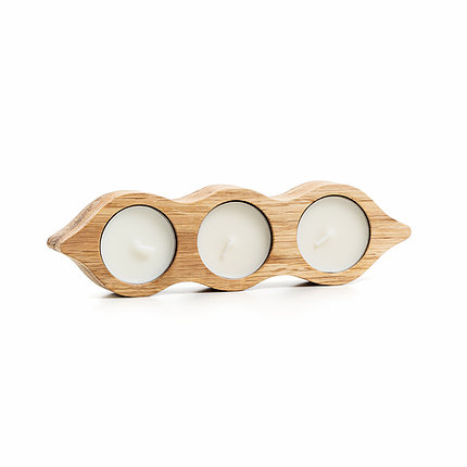 hand crafted wooden holder for 3 tea lights