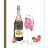 Card with illustration of pink champagne glasses and strawberries