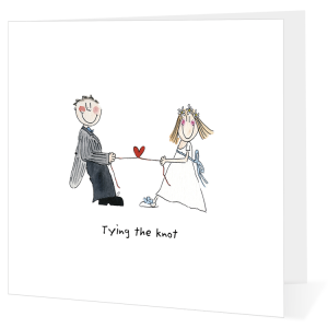 Wedding card - illustration of couple tying the knot...heart between them