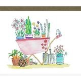 card with illustration of wheelbarrow full of plants