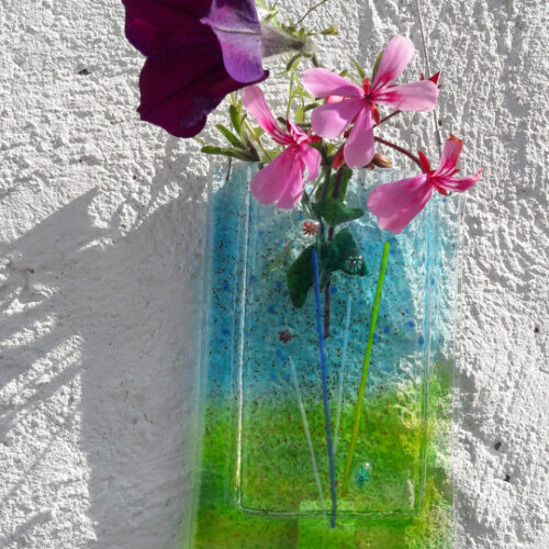 king's forge fused glass wall vase