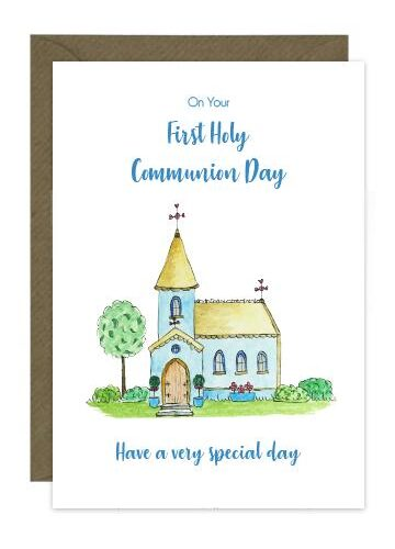 First holy communion card with illustration of church...shades of blue