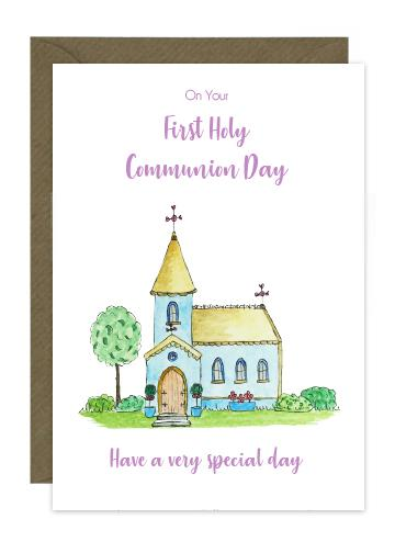 card with message On Your First Holy Communion Day for a girl