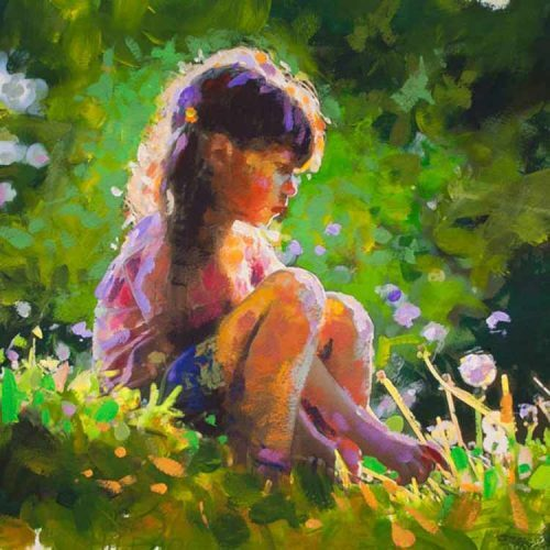 limited edition Paul Maloney print of young girl sitting in garden called Daydream Believer