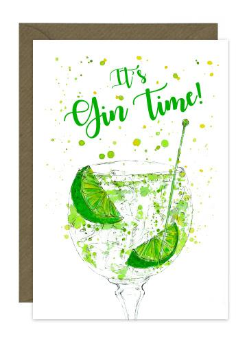 fun card with illustration of gin and tonic and lime slices with message it's Gin Time!
