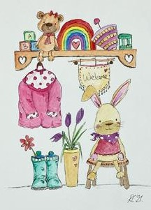 Colourful illustration of little girl's nursery presented as a car