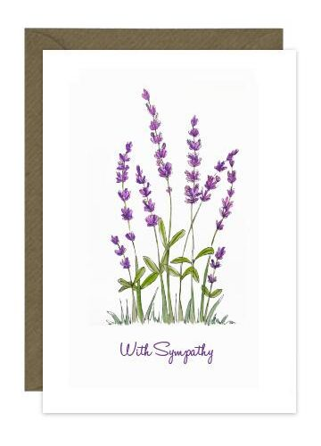 Sympathy card with illustration of lavender