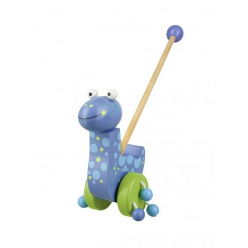child's learning to walk toy with wooden handle and colourful dinosaur and noisy wheels