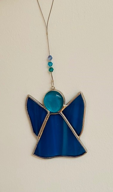 Acqua coloured stained glass angel - handcrafted in Ireland