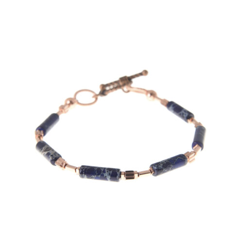 bracelet with blue stones and rose gold links...handmade in Ireland