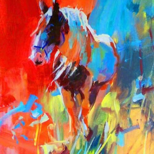 Contemporary colourful print of a horse called Faithful by Paul Maloney